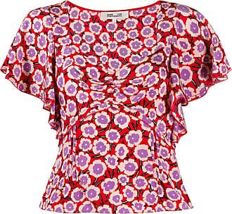 Diane Von Fürstenberg Blusa Lydia floral vermelha - Vermelho