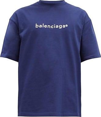 Balenciaga Copyright Logo-print Cotton T-shirt - Mens - Blue