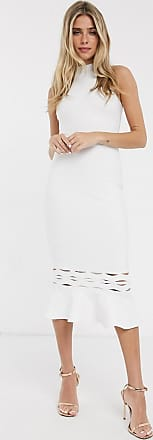 Lipsy Weißes Neckholder-Kleid mit schwingendem Saum
