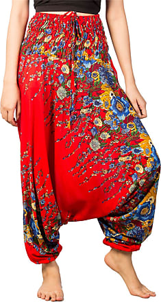 Lofbaz Womens Floral Printed Smock Waist 2 in 1 Jumpsuit Pants Red S
