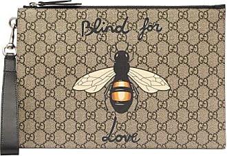 Gucci Bee-print Gg Supreme Canvas Pouch - Mens - Brown Multi