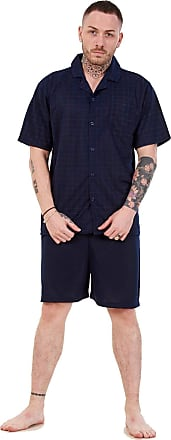 JD Williams Mens Short Pajama Set Cotton Jersey Classic Check Lounge Wear Nightdress M-XXL Navy