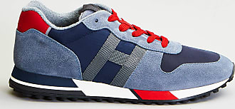 Reposi Calzature HOGAN H383 - Sneakers blue jeans/rosso in suede e tessuto