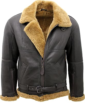 Infinity Mens Brown RAF Aviator Vintage Real Thick Shearling Sheepskin Flying Leather Jacket with Ginger Fur Comfort fit (XXXXXL)