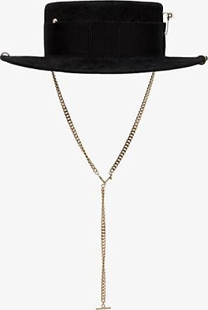 Ruslan Baginskiy Womens Black Chain Strap Boater Hat
