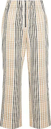 Ganni Ganni Woman Cropped Checked Cotton Straight-leg Pants Sand Size 40