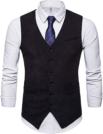 Whatlees Mens Slim Fit Tweed Vest with Double-Breasted Button Front Party Club Wedding Black 02010005XBlack+XL