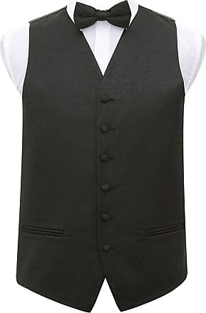 DQT Premium Woven Jacquard Swirl Black Mens Wedding Waistcoat Vest and Pre-tied Bow Tie 2 pc. Matching Set - 50