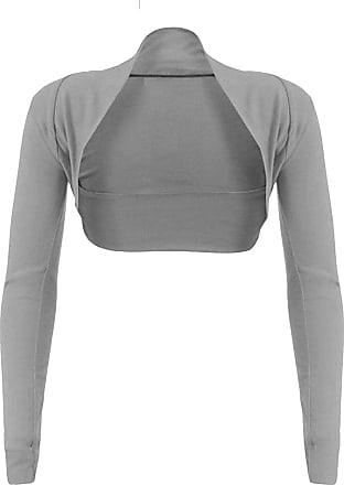 Top Fashion18 Top Fashion Womens Long Sleeve Ladies Short Cropped Open Shrug Bolero Cardigan Top UK Size 8-26 Grey