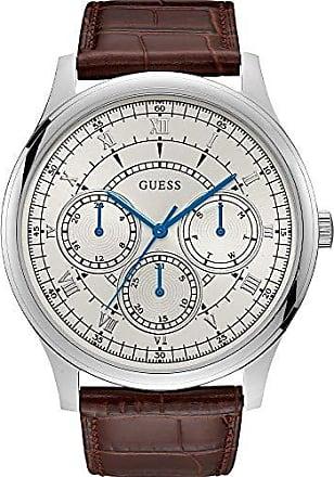 Guess Relógio Masculino Guess Pulseira de Couro Marrom, Mostrador Prata Degradê e Ponteiros Azuis 92724G0GDNC2 Multifunção