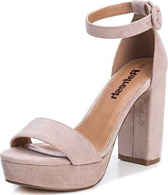 Refresh Sandals with Wide Heel - Buckle Closure Brown Size: 39 EU