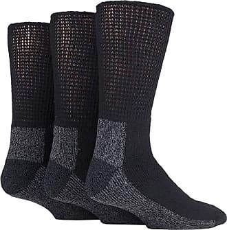 SockShop 3 PAIRS IOMI FOOTNURSE CUSHION FOOT DIABETIC WORK SOCKS (Black/Grey, 6-11 UK 39-45 EUR)
