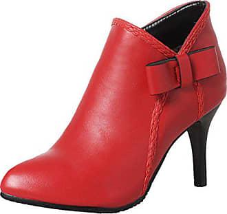 b72de082e8eaae Aiyoumei Damen Stiletto High Heels Stiefeletten mit Schleife und 8cm Absatz  Winter Ankle Boots