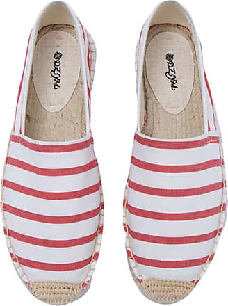 ICEGREY Womens Causal Loafer Flat Slip On Espadrille Red White Strips UK 3.5