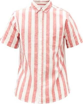 Onia Jack Striped Linen-blend Poplin Shirt - Mens - Red Multi
