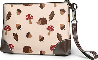 GLGFashion Womens Leather Wristlet Clutch Wallet Mushroom And Hedgehog Storage Purse With Strap Zipper Pouch