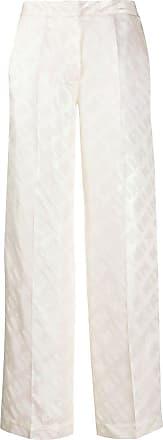 Kirin Calça cintura alta com estampa corrida de logo - Branco