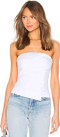 About Us Kassady Button Strapless Top in White