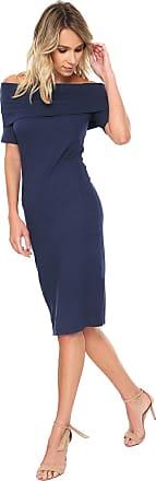 Calvin Klein Vestido Calvin Klein Midi Ombro a Ombro Azul-marinho