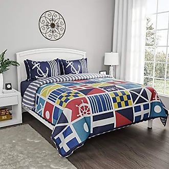 Trademark Lavish Home Collection Quilt Bedspread Set with Exclusive Mariner Design- 3 Piece Full/Queen Set With 2 Shams, Nautical Coastal Theme, Reversible, Hypoallergenic