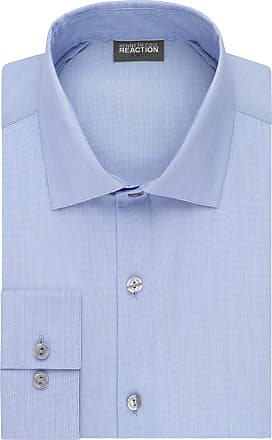 Kenneth Cole Reaction mens32R2288Dress Shirt Slim Fit Technicole Stretch Solid Spread Collar Long Sleeve Dress Shirt - Blue - 16.5 Neck 32-33 Sleeve