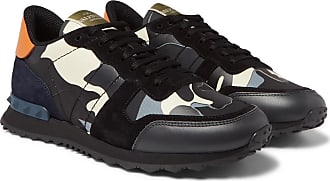 Valentino Valentino Garavani Rockrunner Camouflage-print Canvas, Leather And Suede Sneakers - Gray