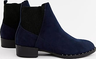New Look studded flat boot in navy - Navy