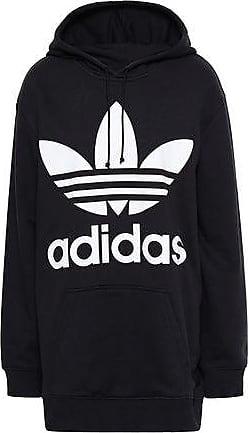 huge selection of 03860 2d0a0 adidas Adidas Originals Woman Printed Cotton-blend Fleece Hooded Sweatshirt  Black Size 42