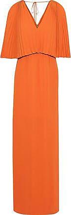 40e44193377 Halston Heritage Halston Heritage Woman Layered Pleated Crepe De Chine Maxi  Dress Orange Size 6