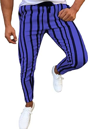 junkai Mens Vintage Retro Striped Trousers Tapered Pencil Pants Blue XL