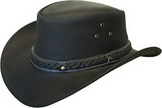 Infinity Unisex Black Leather Bush Safari Aussie Cowboy Style Classic Western Outback Hat XXL