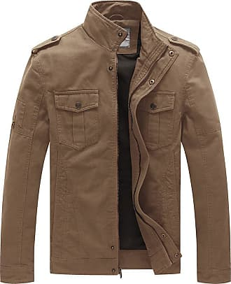 WenVen Mens Casual Windbreaker Cotton Military Jacket Khaki X-Large