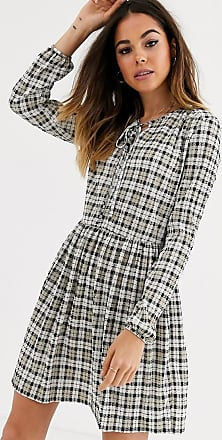 Miss Selfridge smock dress in check-Grey