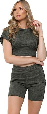 Momo & Ayat Fashions Ladies Melange Knit Crop Top & Shorts Co-ord 6-14 (Khaki, UK 12 (EUR 40))