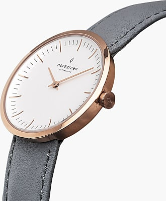 Nordgreen Infinity - Rose Gold | Grey Leather - 32mm / Rose Gold