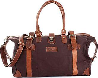 e77bc10fa2e57 Leconi Shopper aus Canvas + Leder im Vintage-Look kleiner Weekender  Handgepäck Reisetasche Sporttasche Fitnesstasche