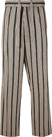 Wooyoungmi Calça pantalona listrada - Marrom