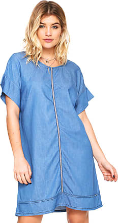 Colcci Vestido Jeans Colcci Curto Recortes Azul