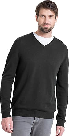 WoolOvers Mens Cashmere and Merino V Neck Jumper Bottle Green, M