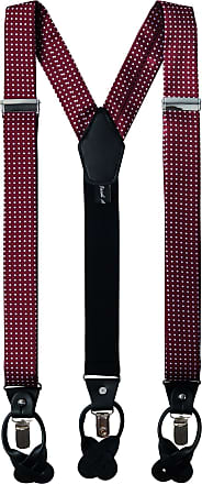 Jacob Alexander Mens Polka Dot Y-Back Suspenders Braces Convertible Leather Ends and Clips - Burgundy