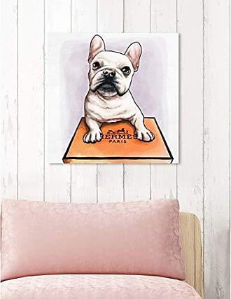 The Oliver Gal Artist Co. The Oliver Gal Artist Co. Oliver Gal Treasure Box Frenchie White Dogs and Puppies Wall Art Print Premium Canvas 20 x 20 Orange