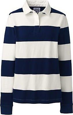 Lands End Gestreiftes Rugbyshirt in großen Größen - Blau - 48-50 von Lands End