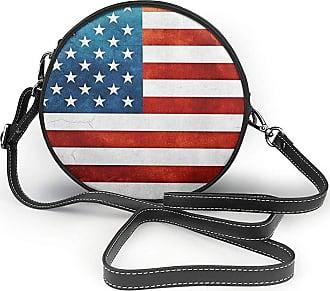 Turfed Vintage American USA Flag Print Fashion Round PU Crossbody Handbag Round Shoulder Bag For Women Girls