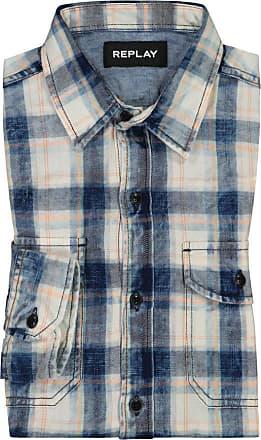 Replay Übergröße : Replay, Kariertes Oberhemd in Blau für Herren