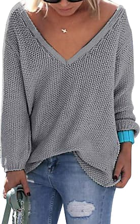 Yoins Jumpers for Women Loose Long Sleeve V Neck Knitwear Top Casual Blouse Sweater Ladies, XXL, Light Grey-new