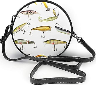 Turfed PU Round Shoulder Bag Fishing Fishing Tackle Bait for Spearing Trapping Catching Aquatic Animals Molluscs Theme Design Cross Body Bag