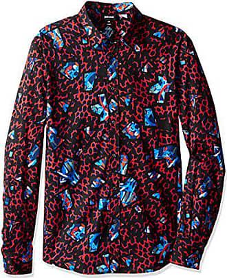 3d09e855c9b Just Cavalli Mens Leopard Print Pointed Collar Button Down Shirt, True Red  44