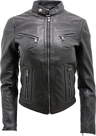 Infinity Womens Casual Black Leather Biker Jacket 10