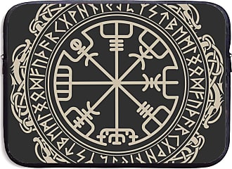 NA Laptop Bag Viking Design Magical Runic Compass Vegvisir,in The Circle of Norse Runes Handbag Laptop Bag Compatible 13-15inch