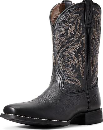 Ariat Mens Sport Herdsman Western Boots in Black Deertan Leather, D Medium Width, Size 10.5, by Ariat